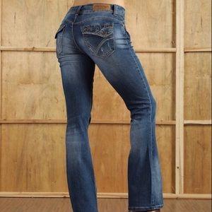 Susanne Beto Jeans - NEW Distressed Denim Jeans Bootcut Wide Leg 34x33